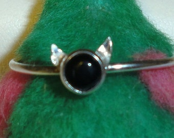 Cat Ring ears - choose stone -  sterling silver from recycled sources  - Custom Made in your Size