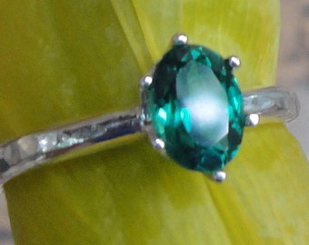 Topaz Ring - Emerald Green Natural Topaz in recycled Sterling Silver- Custom made in your Size - VS+ quality AA to AAA gem Emerald green May