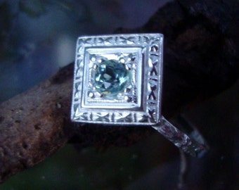 Ring Green Amethyst Prasiolite in antique style eco-friendly sterling silver Square and round - Custom Made in your Size