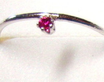Ruby Ring Tiny ruby side set on eco-friendly sterling silver - Custom Made in your Size