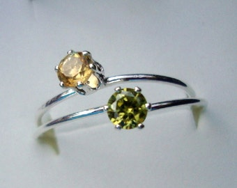 2 Rings Citrine and olivine peridot -4mm prong set in  eco-friendly sterling silver - 2-stack Custom Made in your Size