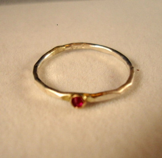 A Teensy Red Ruby in 10K gold and sterling silver ring - Custom Made in your size - Fair Trade, eco-friendly and conflict free