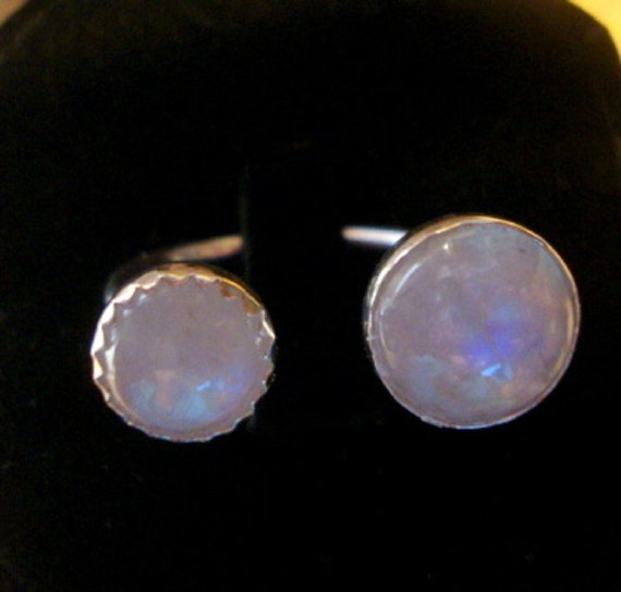 Double Rainbow moonstone ring - reclaimed/recycled .925 sterling silver adjustable open top -  unusual - Custom made in USA