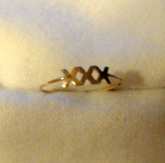 Love Kisses Ring - a little naughty -  recycled 14k gold filled - Size 5, 7, 8