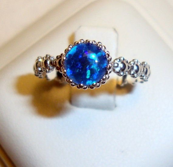 Dramatic, Romantic and Feminine opal ring - Blue reclaimed/recycled .925 sterling silver custom made in your size