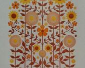 sunshine garden letterpress print