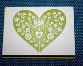 chartreuse heart noteset (4 per package)