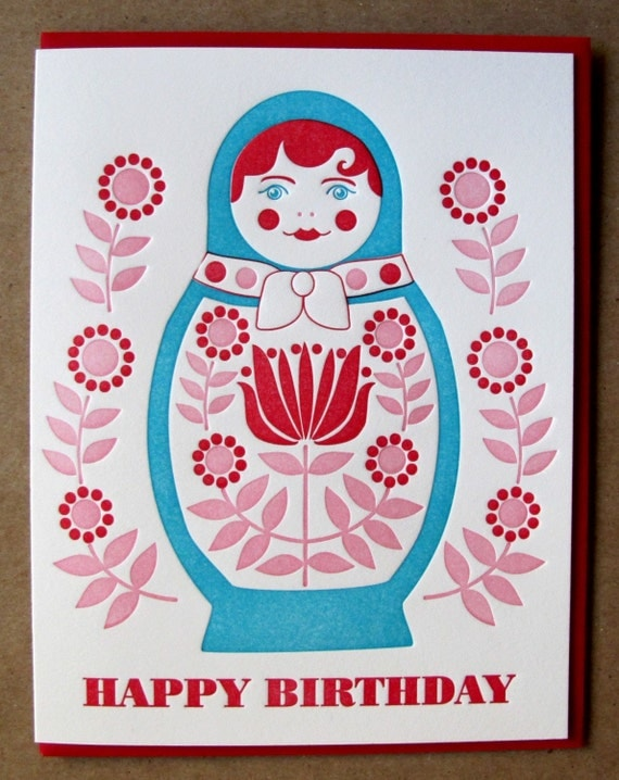 happy birthday matryoshka card