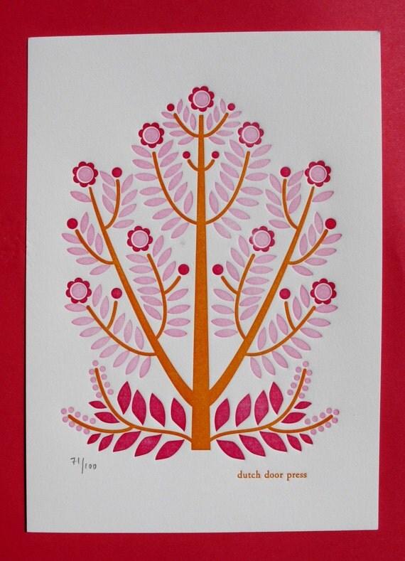 flower tree letterpress print