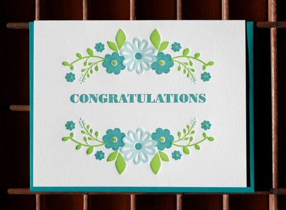 congratulations (floral wreath) greeting card
