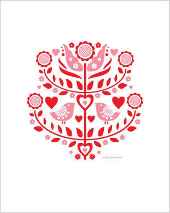 love birds letterpress print