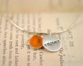 Silver Bangle Bracelet, Courage Bangle, Bridesmaid gift, Mom gift, Charm Bracelet, personalized bracelet