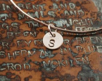 Initial Bangle Bracelet, silver bangle, Bridesmaid gift, Mom gift, custom, personalized