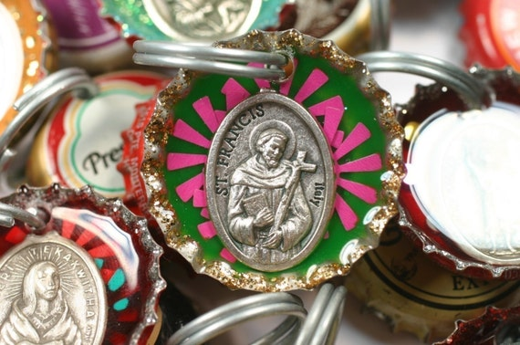 Saint Francis Bottle Cap keyring, dog tag, luggage tag, stocking stuffer, pet tag, gift topper, animal protector, St Christopher, vet gift