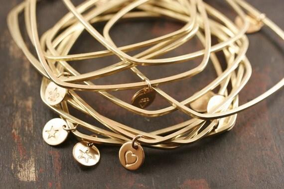 Square Bangle Bracelet, brass bangle, charm bangle, gold bangle, charm bangle bracelet