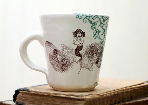 Coffee Cup - Mermaid Drawing