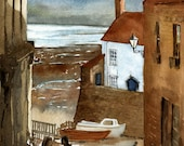White House By The Sea original watercolor