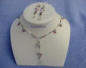 Set of Necklace and Earrings Silver Moonstone Drops Pink Tourmaline Tanzanite Swarovski Crystals