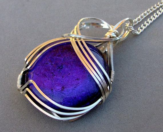 Blue Dichroic Pendant Wirewrapped in Sterling Silver Wire with Chain