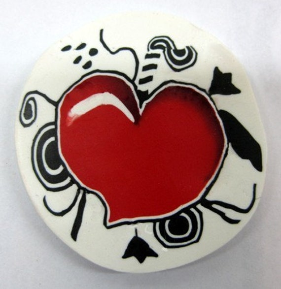 Polymer clay heart cane