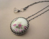 Hand Painted Floral Vintage Porcelain Button Necklace