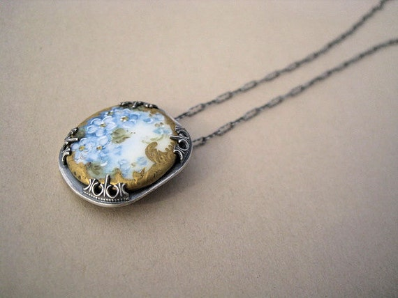 Hand Painted Vintage Porcelain Button Necklace Blue Gold White