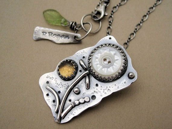 RESERVED - Vintage Button Citrine Floral Pendant - Sterling Silver Handmade
