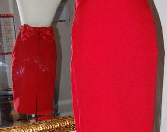 Red high waisted pencil skirt