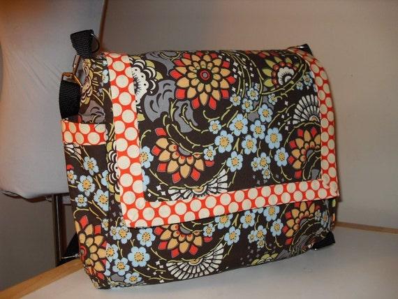 Amy Butler Geisha Fans Diaper, Messenger, Backpack Convertible Bag