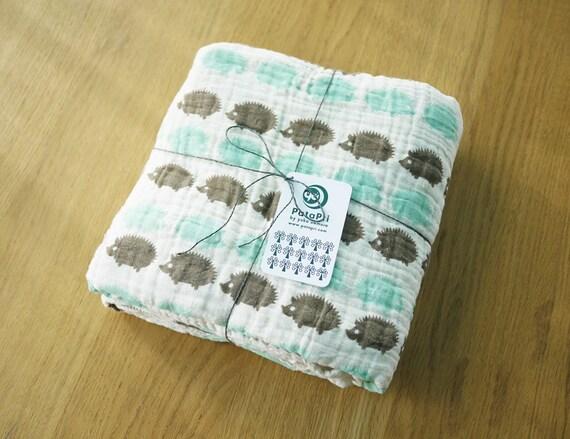 Baby Blanket Hedgehog Blue