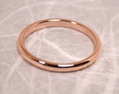 Romantic 14k Rose Gold Ring 2mm Wedding Band Size 6 Solid Gold Band Handmade Jewelry by SARANTOS