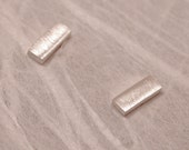 5mm x 2mm Tiny Brushed Silver Earrings Bar Studs Rectangle Posts by SARANTOS