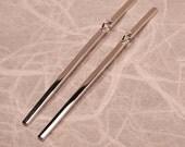 Long Silver Earrings Sleek Minimalist Modern Bar Dangle Earrings Silver Jewelry by Susan Sarantos