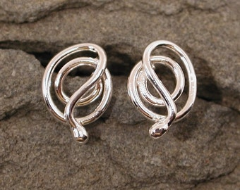 Swirling Modern Medusa Silver Snake Earrings Sterling Silver Snake Studs Serpent Jewelry by Susan SARANTOS