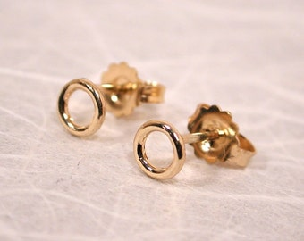 Small Gold Stud Earrings Delicate 14k 5mm Gold Studs Little Gold Circle Posts by SARANTOS
