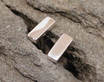 5mm x 2mm Rectangle Stud Earrings Small Silver Studs Bar Geometric Flat Sterling Earrings by SARANTOS