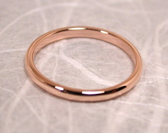 Romantic 14k Rose Gold Ring 2mm Wedding Band Size 6 Solid Gold Band Handmade Jewelry by Susan SARANTOS