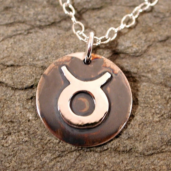 Taurus astrology symbol necklace sterling silver zodiac sign jewelry by SARANTOS