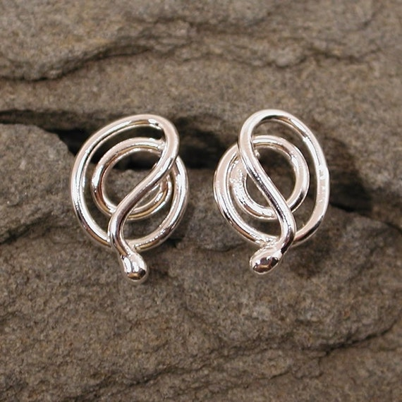Modern Medusa Silver Snake Earrings Sterling Silver Snake Studs Serpent Jewelry by Susan SARANTOS