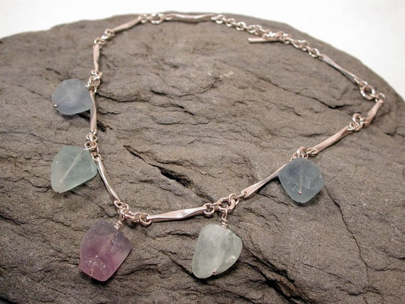 Reserved for T - Fluorite Necklace Sterling Silver Modern Jewelry Design by SARANTOS