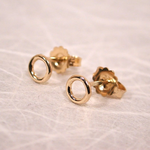 small gold stud earrings delicate 14k 5mm gold studs