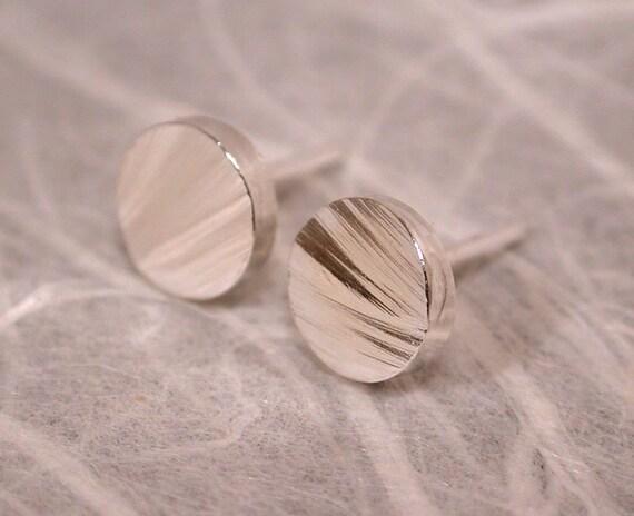 5mm Wood Grain Studs Rough Textured Sterling Silver Post Earrings