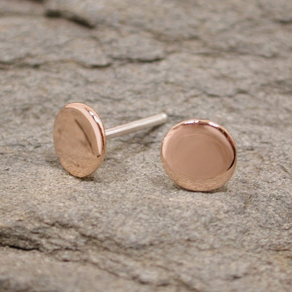 6mm Pink Gold Studs Flat Round Post Earrings 18k with sterling silver backs by SARANTOS