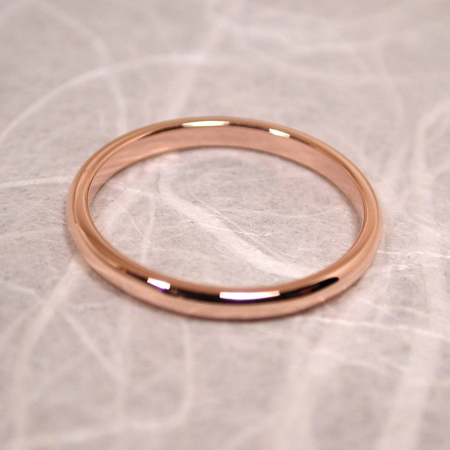 size 6 band 14k wedding ring solid rose gold delicate blush. Black Bedroom Furniture Sets. Home Design Ideas