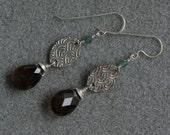 Venice earrings with fine silver, smoky quartz, sterling silver and Swarovski crystal