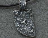 Starburst fine silver pendant necklace with silver and leather