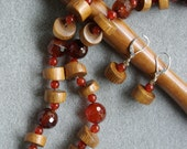 Warm Wood and Agate handknotted necklace with fire agate, carnelian, wood, Swarovski crystal and sterling silver
