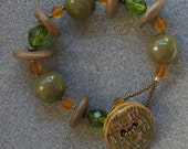Olive Grove chunky bracelet with polymer clay, Czech glass and a handmade button clasp