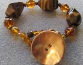 Tigereye Amber chunky bracelet with tigereye, Czech glass, and brass
