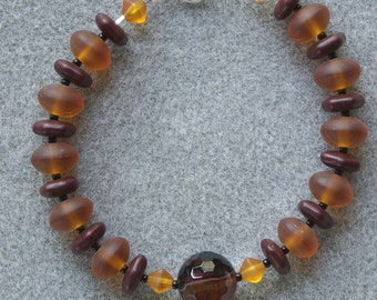 Amber Agate bracelet with striped agate, Czech glass and sterling silver